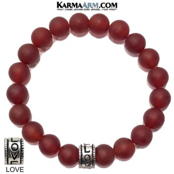 ANXIETY RELIEF : Red Agate | LOVE Bead | Yoga Meditation Bracelet | 10mm