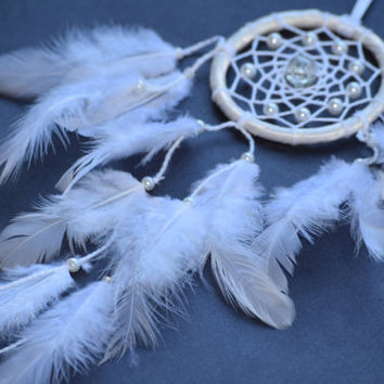 White Pearl Car Dream Catcher, Car Decor, Boho Dreamcatcher, Car Accessory for women,  Rear View Mirror charm.