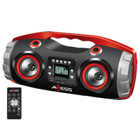 Portable FM Radio CD-MP3-USB-SD Boombox with Heavy Bass and Bluetooth-Red