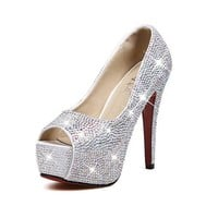 MP Rhinestone Peep Toe High Heel Platform Party Heeled Shoes 042405 SDP 0603