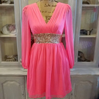 THE GLIMMERING GODDESS HOT PINK CHIFFON DRESS