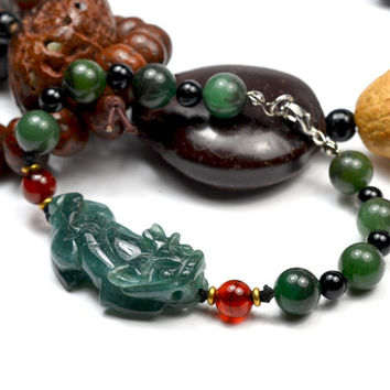 Auspicious Chinese Pi Shou Fortune Tiger Carved Green Jade Bracelet 7 inches - Fortune Feng Shui Jewelry