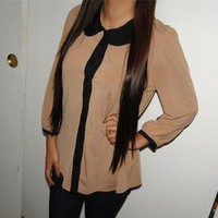 FOREVER 21 Brown and Black Vintage Style Button Up Flowy Blouse Top Sz S