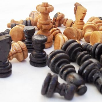 Olive wood hand carved chess pieces, wooden rustic natural black chess pieces
