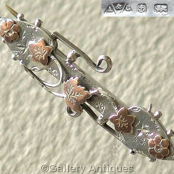 Antique Victorian 925 Sterling Silver and Rose Gold ivy leaf Sweetheart Brooch by Able and Charnell Hallmarked for Birmingham, 1900 (G20610)