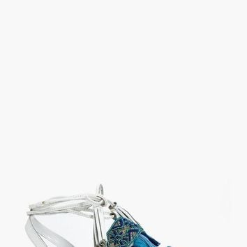 Orla Embroidered Wrap Strap Leather Sandal | Boohoo