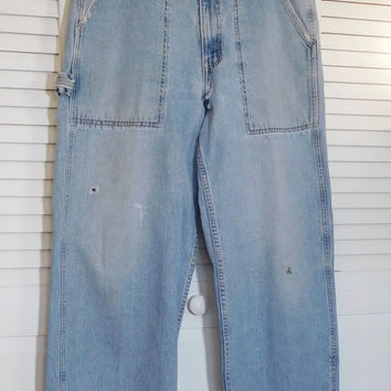 Levis Carpenter Jeans Mens Pants Dry Goods Red Tag Vintage Boyfriend Repaired High Waist Patched Frayed Distressed Bohemian Dungarees 34  32