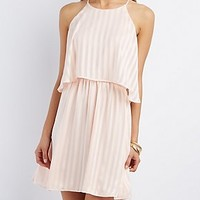 BIB NECK STRIPED DRESS