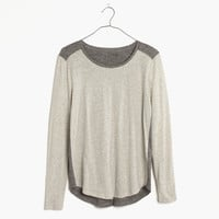 Whisper Cotton Long-Sleeve Crewneck Tee in Colorblock : | Madewell