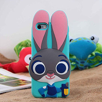 Apple iPhone 6+ Case iPhone 6s Plus Back Cover Soft Silicone Cute Lovely Rabbit Bunny Design 3D Cartoon Gift for Girls Teens Kids