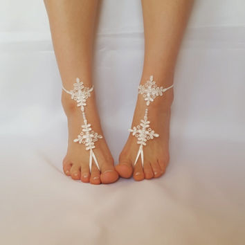 Beach wedding barefoot sandals FREE SHIP embroidered sandals, ivory Barefoot , french lace sandals, wedding anklet,
