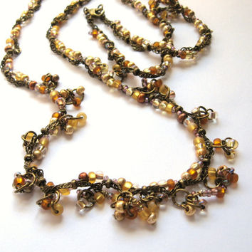 Antique Brass With Earthy Tones Beadwork and Wire Wrapped  Necklace