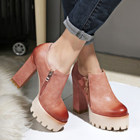Good Quality Spring and Autumn Thick Heel Platform Shoes Women High-heeled Single Shoes Casual Female Shoes for Russian