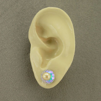 10 mm Round Aurora Borealis Crystal and Creme Pearl Magnetic Non-Pierced Earrings