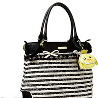 QUILTED HEART DIAPER TOTE BAG BLACK-WHITE