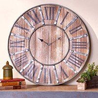 Oversized Rustic Country Farmhouse Wall Clock Distressed Wooden Primitive Lodge