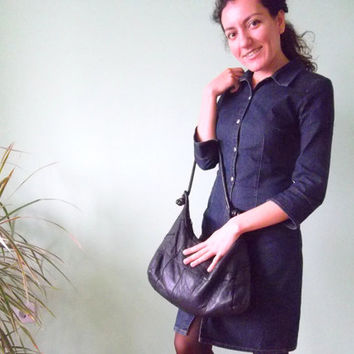 Black  Patchwork Hobo Bag  Made of Soft Distressed Leather, 80s Slouchy Purse, Bohemian Hobo Bag, Womens Indie Bag, Genuine Leather Tote