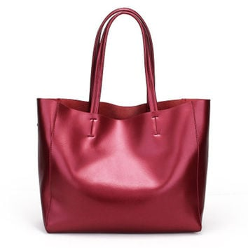 Large Size Modern Minimal Burgundy Leather Tote. Ladies Genuine Leather Shopper Bag. Casual Weekend Bag