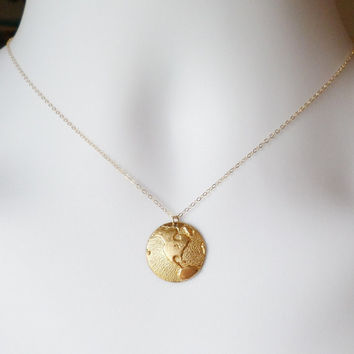 Gold Globe Necklace - Gold Round 1/2 Globe Charm Necklace - United States Gold Necklace - Gold Necklace - Christmas Gifts