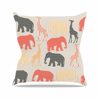 """Suzanne Carter """"Zoo"""" Beige Coral Throw Pillow"""