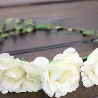 Womens Hair Accessories, Flower Crowns, Wedding Accessories, Rose, Ivory, Wedding Headband, Hair Crown, Bridal Accessories, Rustic Wedding