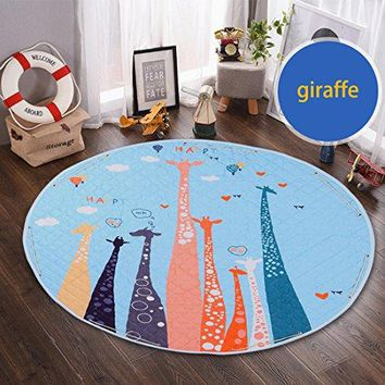 Round Kids' Room Rug,Lego Toys Storage Organizer Bag,Large Cotton Anti-slip Cartoon Animal Children's Floor Play Game Mat with Drawstring for Kids Room, 59x59 Inch (Giraffe)