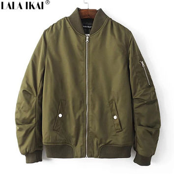 (us size) Thick Winter Bomber Jacket Men Cotton Padded Stand Collar Zipper Ma1 Coat Man Brand Male Clothing Solid SMK0292-4