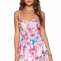 Pink Floral Print Strappy Mini Dress