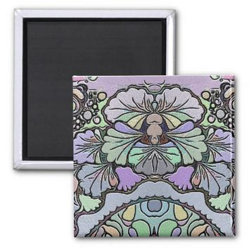 Old world purple pansy tile print magnet
