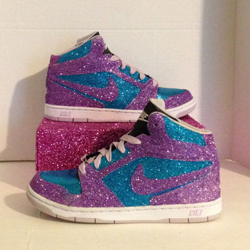 Custom Glittered Purple and Blue Nike Prestige High size 8.5