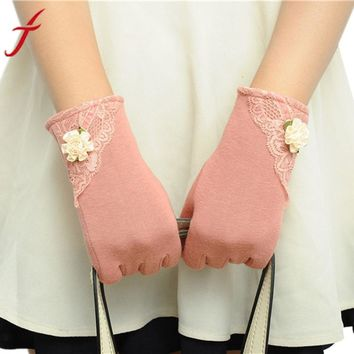 Womens Lace Gloves Winter Warm Wrist Gloves Ladies Touch Screen Mittens Cotton Leather Gloves For Women eldiven #LSN
