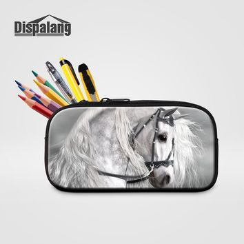 Dispalang Women Portable Small Cosmetic Cases Animal Horse Printing Pencil Bags For Students School Supplies Children's Pen Box