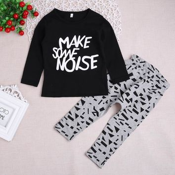 2018 2pcs new spring autumn Children baby boys girls clothing sets Letters Cartoon Long Sleeve T-shirt Pants kids clothes sets