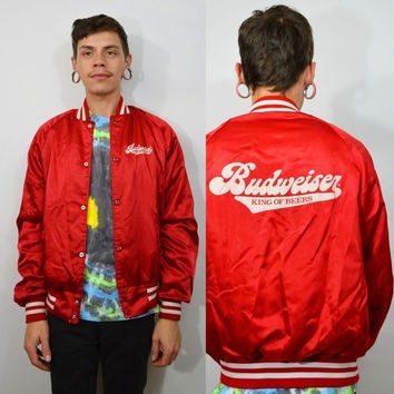 Vintage Beer Jacket 80s Budweiser Mens Small Hipster Soft Grunge Red Shiny King of Beers Coat Lightweight Wind breaker Track Jacket Striped