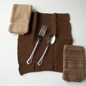 Dishcloths Knit in Cotton by The Needle House in Fig and Tan