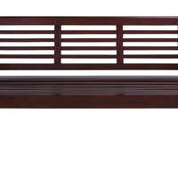 "Contemporary 35"""" Wooden Bench with Glossy Brown Texture"