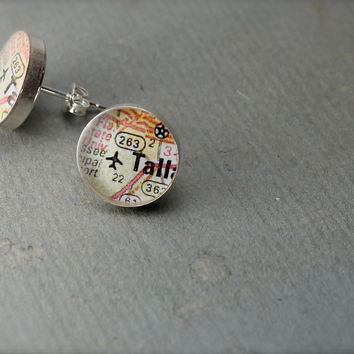FSU Vintage Map Sterling Silver Stud Earrings