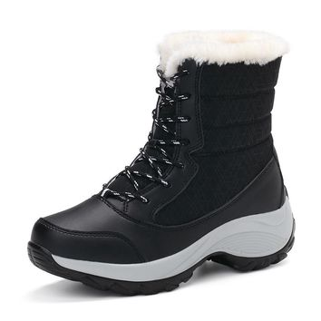 Platform Ankle Boots Warm Plush Waterproof Rain Boots
