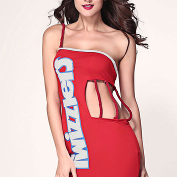 One Shoulder Knotted Strapoy Cutout  Twizzlers Print Mini Dress