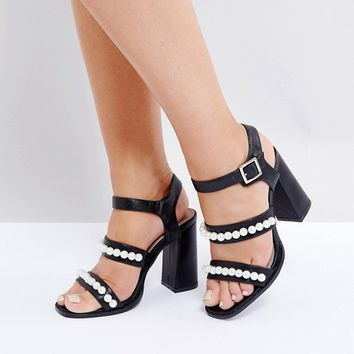 Lost Ink Wide Fit Black Pearl Effect Heeled Sandals at asos.com