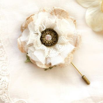 Rustic Boutonniere - Ivory Blossom
