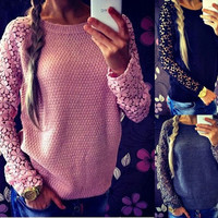 Women New Fashion Lace Crochet Sleeves Knitting Patchwork Pullovers Sweatshirts Spring Autumn Tops = 1946151876