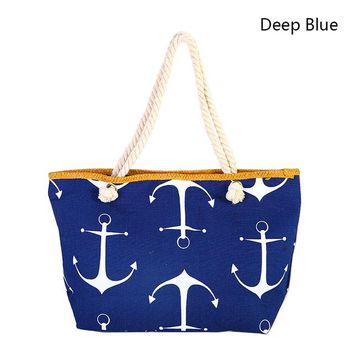 Marine Anchor Women's Shoulder Beach Bag Hemp Rope Straw - Canvas Beach Tote Purse Handbags Totes Bags