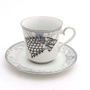 Game of Thrones teacup and saucer, tea cups, tea is coming, upcycled vintage china , metallic silver accents
