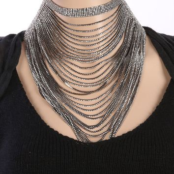 Black Layered Chain Drape Necklace