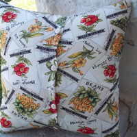 Garden Pillow Cover Seed Packets Upcycled 16 Inch by debupcycles