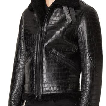 Mens Leather Jacket Black Alligator / Crocodile Emb Aviator Style Shearling Trim