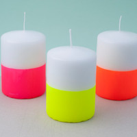 Triple Pack Neon Dip Dye Pillar Candles — Orange, Pink & Yellow
