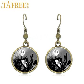 TAFREE The Nightmare Before Christmas Jack Skellington dangle earring christmas tree santa claus drop earrings women jewelry J59