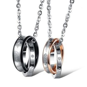 DCCKIX3 Couple 'Forever Love' Double Ring Necklace Lover Promise Necklace One Piece Price
